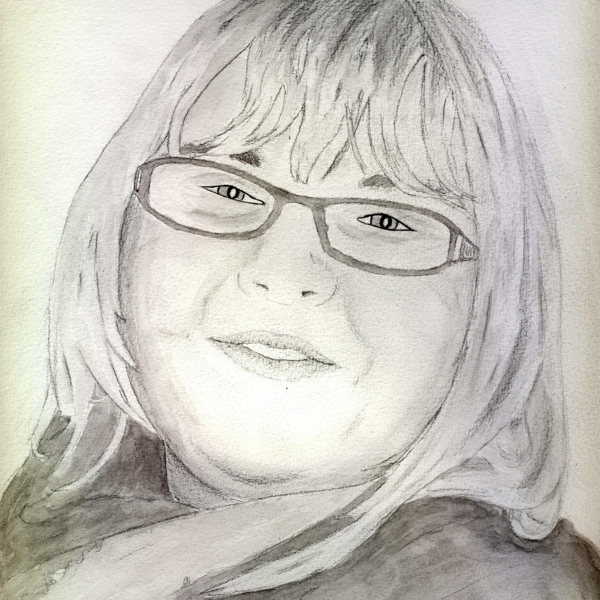 Portrait Frau Zeichnen Malen Lassen Vom Foto Mit Bleistift