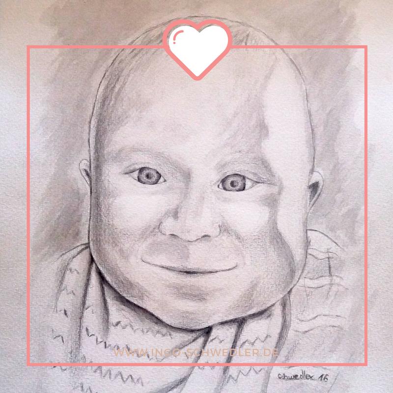 Portrait zeichnen malen lassen vom Foto mit Bleistift Gouache_01