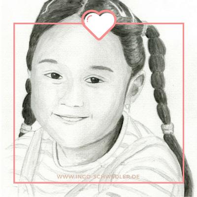 Portrait zeichnen malen lassen vom Foto mit Bleistift Gouache_09